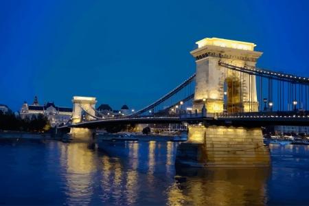 szechenyi: Szechenyi chain bridge in Budapest, Hungary Illustration
