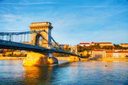 Szechenyi chain bridge in Budapest, Hungary Stock Illustratie