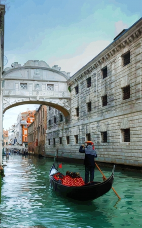 gondolier: Gondolier under the Bridge of Sighs Illustration
