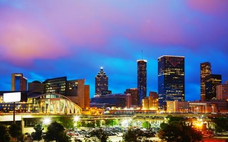 Downtown Atlanta, Georgia at night time Stock Photo