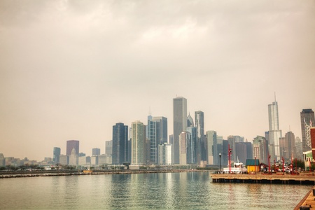 Downtown Chicago, IL on a cloudy day as seen from Lake Michigan photo