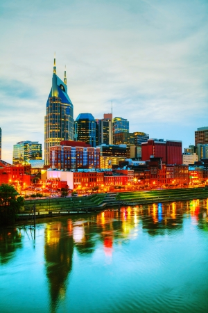 Downtown Nashville, TN early in the evening Фото со стока