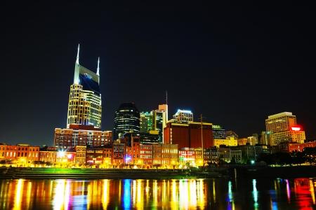 tn: Downtown Nashville, TN cityscape in the night Stock Photo