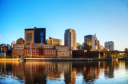 minnesota: Downtown of St. Paul, MN and Mississippi river Stock Photo