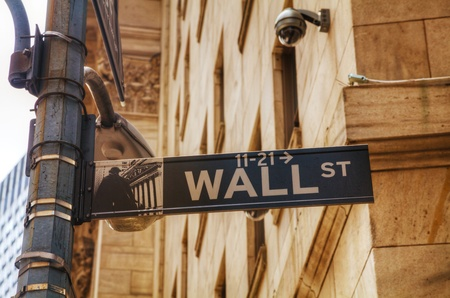 wall street: Wall street sign in New York City