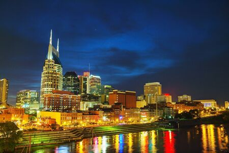 tennessee: Downtown Nashville, TN in the evening