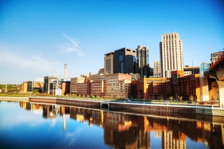 mississippi: Downtown of St. Paul, MN and Mississippi river Stock Photo