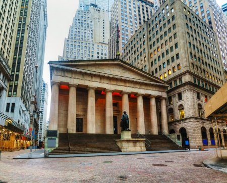 'city hall': Federal Hall National Memorial on Wall Street in New York in the morning Editorial