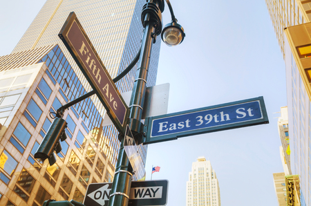 fifth: Fifth avenue sign in New York City Editorial