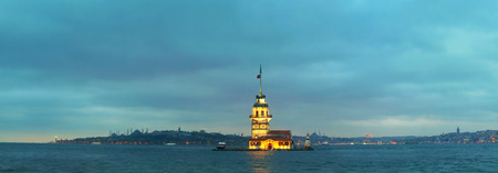 Maidens island in Istanbul, Turkey at sunset time. Panoramic overview
