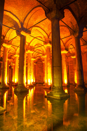 ISTANBUL - APRIL 8  Basilica Cistern interior on April 08, 2013 in Istanbul, Turkey  It