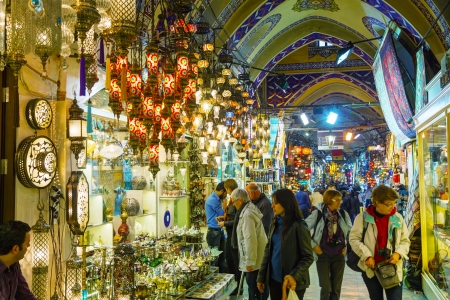 ISTANBUL - APRIL 8  Grand Bazaar interior on April 8, 2013 in Istanbul  It
