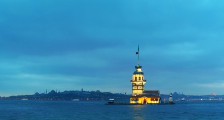 Maiden's island in Istanbul, Turkey at sunset time. Panoramic overview