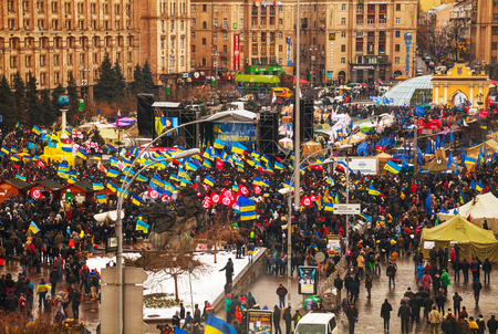 provoked: KIEV, UKRAINE - DECEMBER 07: Anti-governmental protests on December 7, 2013 in Kiev, Ukraine. The protests were provoked when the Ukrainian president denied to sign an agreement with the EU. Editorial