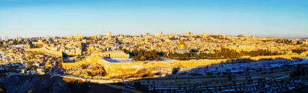 Panorama of Old City in Jerusalem, Israel with The Golden Dome Mosque