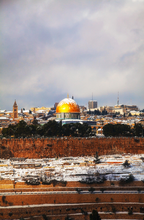 Overview of Old City in Jerusalem, Israel with The Dome of the Rock Mosque