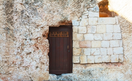 Entrance to the Garden Tomb in Jerusalem, Israel Stock Photo