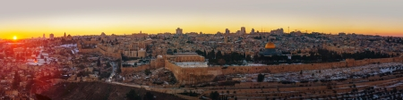 Overview of Old City in Jerusalem, Israel with The Golden Dome Mosque Stock Photo