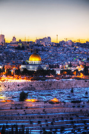 Overview of Old City in Jerusalem, Israel with The Dome of the Rock photo
