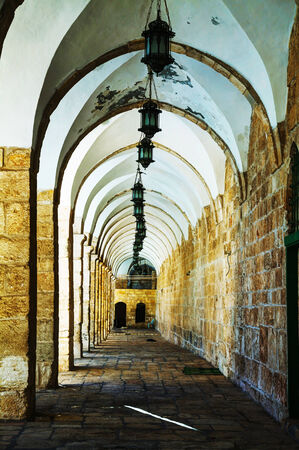 Arches of a passageway at the Temple mount in Jerusalem, Israel photo