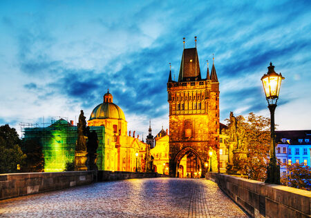 Charles bridge in Prague, Czech Republic early in the morning Banco de Imagens - 25267801