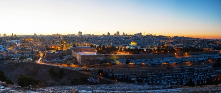 Overview of Old City in Jerusalem, Israel with The Dome of the Rock Mosque photo