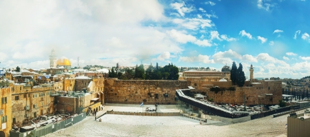 The Western Wall in Jerusalem, Israel om a sunny day after a snow storm