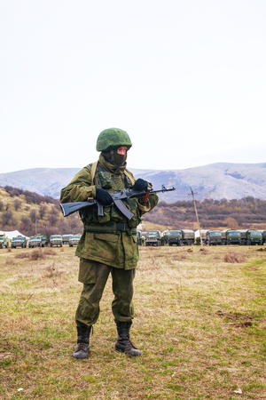 PEREVALNE, UKRAINE - MARCH 4  Russian soldier on March 4, 2014 in Perevalne, Crimea, Ukraine  On February 28, 2014 Russian military forces invaded Crimea peninsula  Stock Photo - 26410699