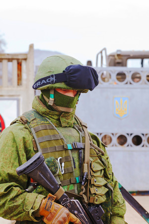PEREVALNE, UKRAINE - MARCH 4  Russian soldier on March 4, 2014 in Perevalne, Ukraine  On February 28, 2014 Russian military forces invaded Crimea peninsula  Editorial