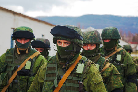 PEREVALNE, UKRAINE - MARCH 5  Russian soldiers marching on March 5, 2014 in Perevalne, Ukraine  On February 28, 2014 Russian military forces invaded Crimea peninsula  Editorial