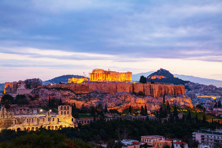 classical greece: Acropolis in Athens, Greece in the evening after sunset Stock Photo