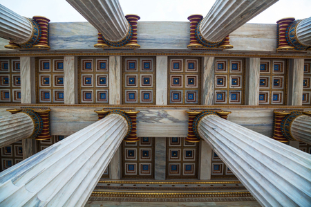 Ionic columns at The Academy of Athens, Greece photo