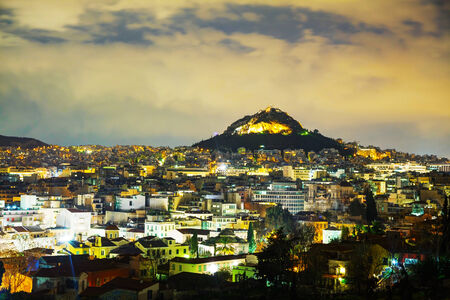 Overview of Athens, Greece in the night photo