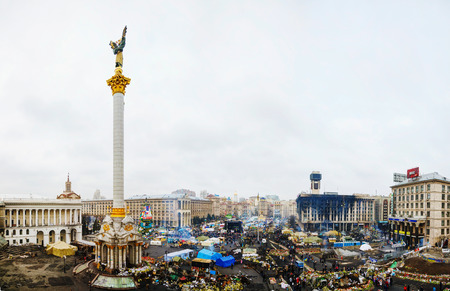 provoked: KIEV, UKRAINE - FEBRUARY 27  Maidan  Independence  square after the revolution on February 27, 2014 in Kiev, Ukraine  The anti-governmental protests were provoked when the Ukrainian president denied to sign an agreement with the EU