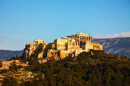 Overview of Acropolis in Athens, Greece on a sunny day Stok Fotoğraf