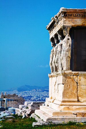 caryatids: The Porch of the Caryatids at Acropolis in Athens, Greece Stock Photo