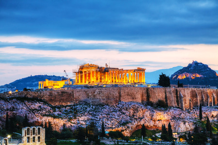 Acropolis in Athens, Greece in the evening after sunset photo