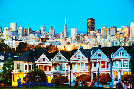 San Francisco cityscape with the Painted Ladies as seen from Alamo square park photo