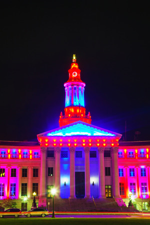 Denver city hall at the night time