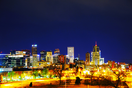 colorado skyline: Downtown Denver, Colorado at the night time