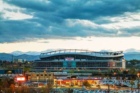 DENVER - May 1, 2014: Sports Authority Field at Mile High in Denver on May 1, 2014 in Denver, Colorado. It's a multi-purpose arena in Denver, Colorado, United States.
