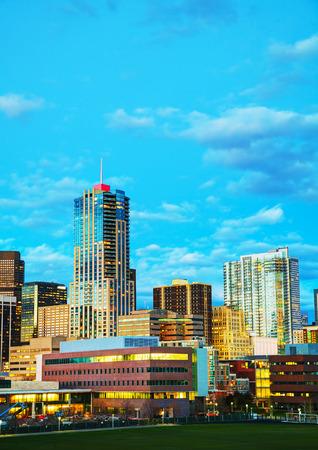 skyline of denver: Downtown Denver, Colorado at the night time