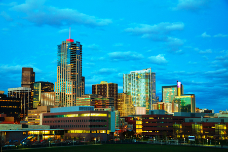capital of colorado: Downtown Denver, Colorado at the night time