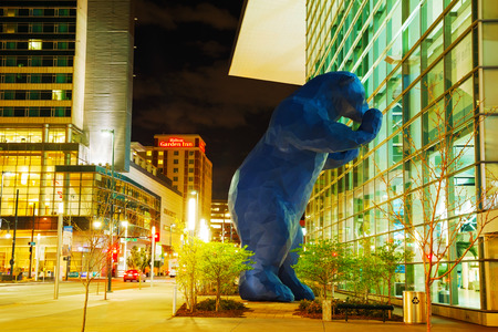 DENVER - May 1, 2014: Colorado Convention Center at night time on May 1, 2014 in Denver, Colorado. Centrally located in Denver, the center has become one of Denvers many landmarks.