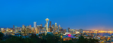 Downtown Seattle cityscape at night time as seen from the Kerry park photo