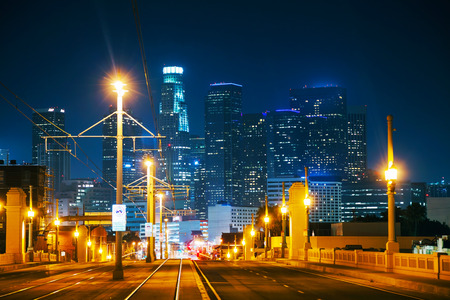 Los Angeles cityscape at the night time photo