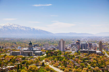 Salt Lake City overview on a sunny day