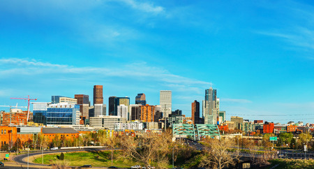 capital of colorado: Downtown Denver cityscape panorama on a sunny day Stock Photo