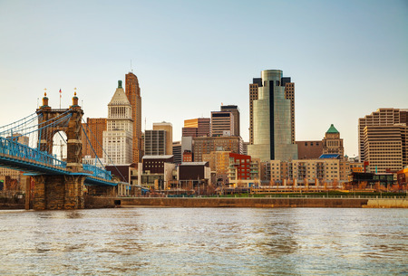 american midwest: Cincinnati downtown overview in the evening