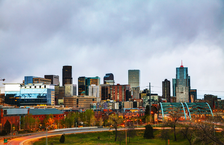 Downtown Denver cityscape in the evening photo